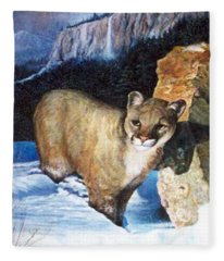 Cougar In Snow Fleece Blanket