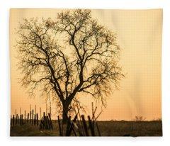 Country Fence Sunset Fleece Blanket