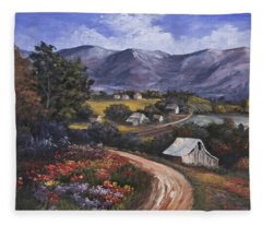 Fleece Blanket featuring the painting Country Road by Darice Machel McGuire