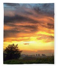 Country Scene From Hilltop To Hilltop Fleece Blanket
