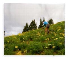 Couple Mountain Biking, Colorado Fleece Blanket