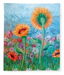 Courting Sunflowers Fleece Blanket