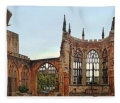 Coventry Cathedral Ruins Panorama Fleece Blanket