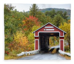 Covered Bridge In Autumn Fleece Blanket