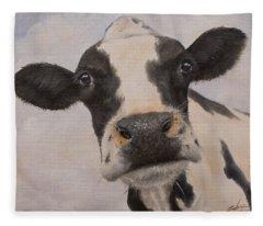 Cow Portrait I Fleece Blanket