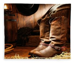 Cowboy Boots In A Ranch Barn Fleece Blanket