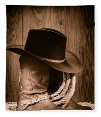 Cowboy Hat And Boots Fleece Blanket