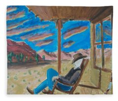 Cowboy Sitting In Chair At Sundown Fleece Blanket