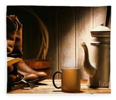 Cowboy's Coffee Break Fleece Blanket