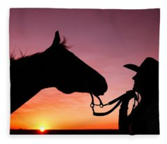 Cowgirl Sunset Fleece Blanket