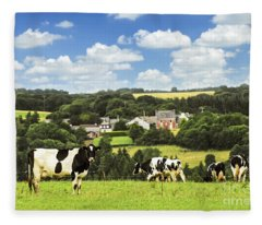Cows In A Pasture In Brittany Fleece Blanket