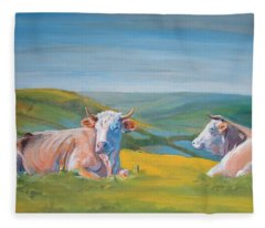 Cows Lying Down Painting Fleece Blanket