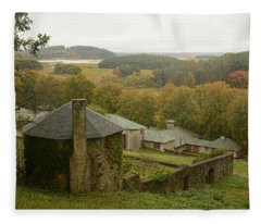 Crane Estate On A Misty Day Fleece Blanket