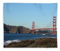 Crashing Waves And The Golden Gate Bridge Fleece Blanket