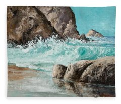 Fleece Blanket featuring the painting Crashing Waves by Darice Machel McGuire