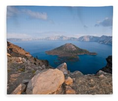 Crater Lake In The Evening Fleece Blanket