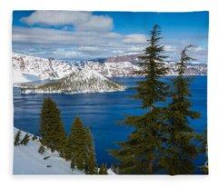 Crater Lake Winter Panorama Fleece Blanket