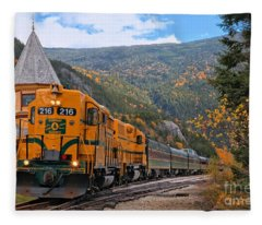 Crawford Notch Train Depot Fleece Blanket