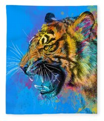 Crazy Tiger Fleece Blanket