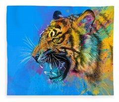 Animal Digital Art Fleece Blankets