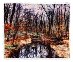 Creek At Pyramid Mountain Fleece Blanket