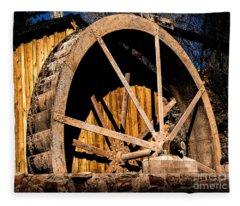 Old Building And Water Wheel Fleece Blanket