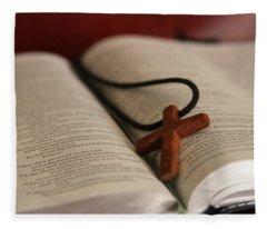 Cross And Bible Fleece Blanket