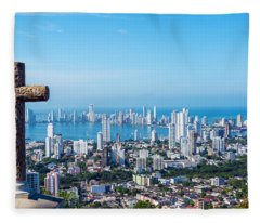 Cross And Modern City Fleece Blanket