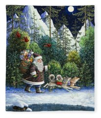 Cross-country Santa Fleece Blanket