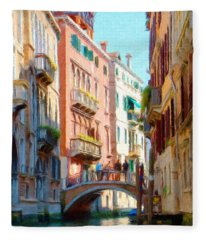 Crossing The Canal Fleece Blanket