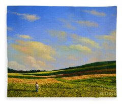 Crossing The Field Fleece Blanket