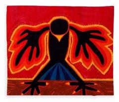 Crow Rising Original Painting Fleece Blanket