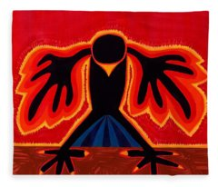 Crow Rising Original Painting Fleece Blanket