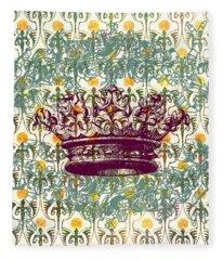 Crown Vintage With Medieval Background Fleece Blanket