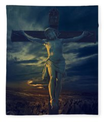 Crucifixcion Fleece Blanket