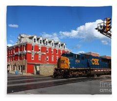 Csx Diesel Train At Cumberland Fleece Blanket