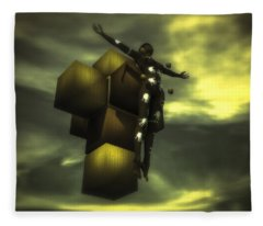 Cube Cross Fleece Blanket