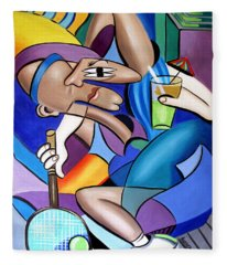 Cubist Tennis Player Fleece Blanket