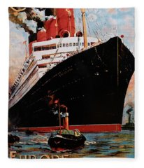 Cunard  Poster From Europe To America Fleece Blanket