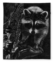 Curious Raccoon Fleece Blanket