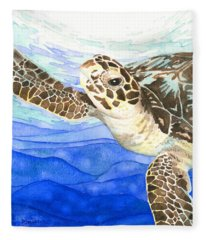Curious Sea Turtle Fleece Blanket