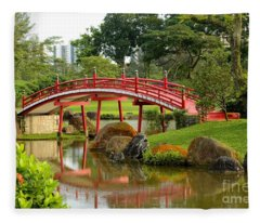 Curved Red Japanese Bridge And Stream Chinese Gardens Singapore Fleece Blanket