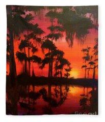 Cypress Swamp At Sunset Fleece Blanket