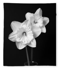 Daffodil Flowers Black And White Fleece Blanket