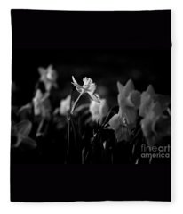 Daffodils In Black And White Fleece Blanket