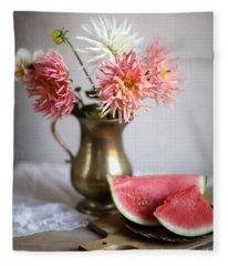 Dahlia And Melon Fleece Blanket