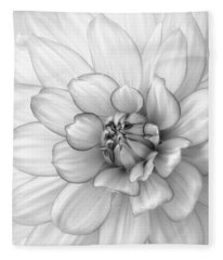 Dahlia Flower Black And White Fleece Blanket