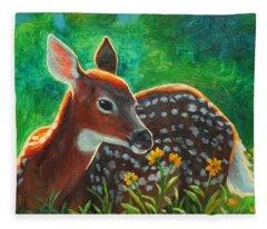 Daisy Deer Fleece Blanket