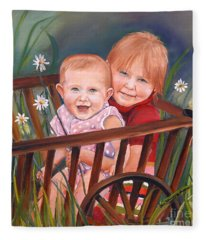 Daisy - Portrait - Girls In Wagon Fleece Blanket