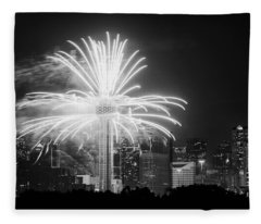 Dallas Reunion Tower Fireworks Bw 2014 Fleece Blanket